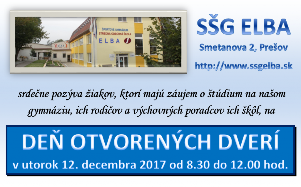 Pozvánka na Deň otvorených dverí 2017