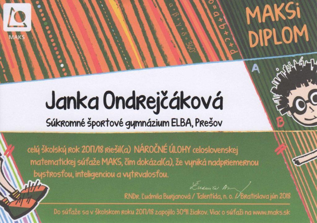 Janka Ondrejčáková - úspešná v matematickej súťaži MAKS