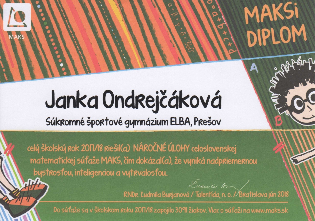 Janka Ondrejčáková – úspech v MAKSovi