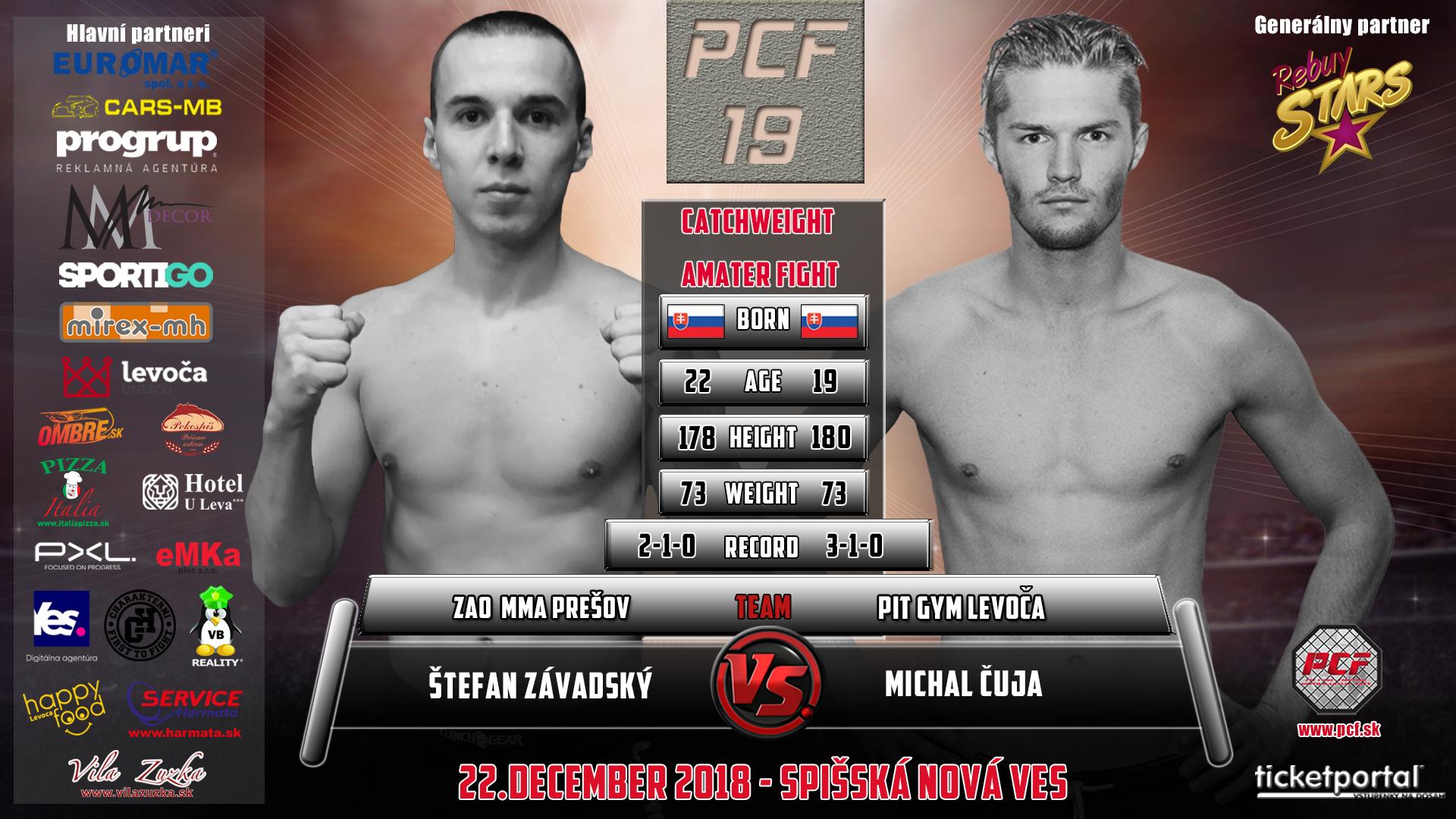 Michal Čuja, víťaz zápasu PCF 19