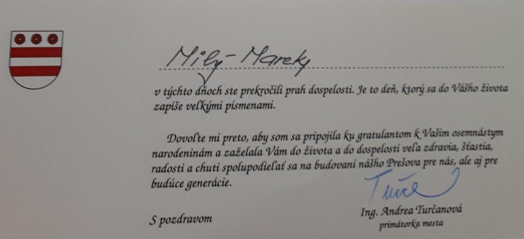 Marekovi blahoželala primátorka